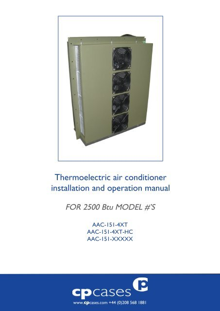Thermoelectric air conditioner installation and operation
