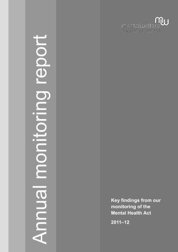Annual monitoring MHA report 2011-12 - Mental Welfare ...