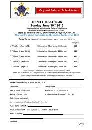 TRINITY TRIATHLON Sunday June 30 2013 - Trinity School