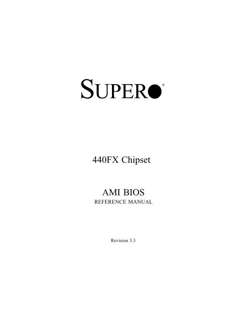 440FX Chipset AMI BIOS - Supermicro