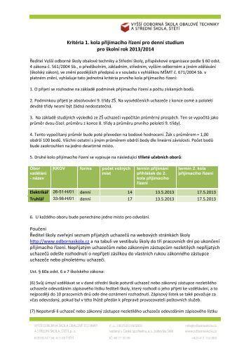 Kritéria 1. kola přijímacího řízení pro denní studium pro školní rok ...