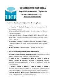 COMMISSIONE GENETICA Lega Italiana contro l'Epilessia - Lice