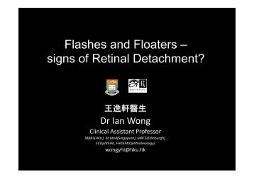 Flashes and Floaters – signs of Retinal Detachment?