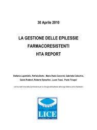 la gestione delle epilessie farmacoresistenti hta report - Lice