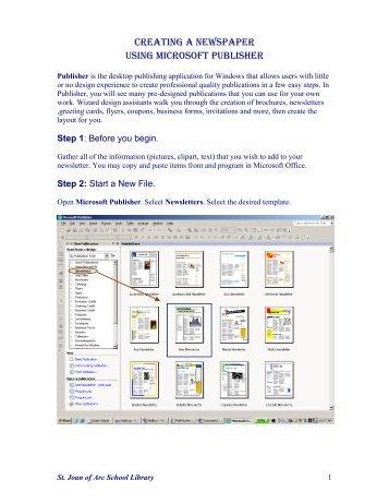 CREATING A NEWSPAPER USING MICROSOFT PUBLISHER