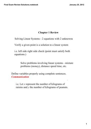 Final Exam Review Solutions.notebook