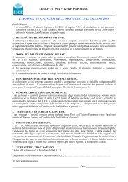 INFORMATIVA AI SENSI DELL'ARTICOLO 13 D. LGS. 196/2003 - Lice