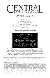Academic Catalog - Central Baptist College