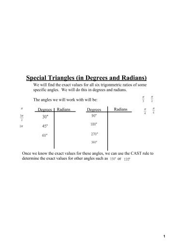 Worksheet 8 Radian And Degree Measures For Angles Draw An