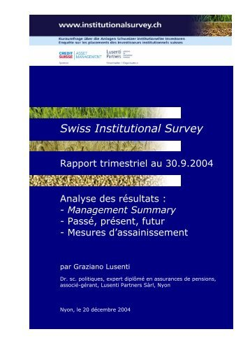 Management Summary - Swiss Institutional Survey