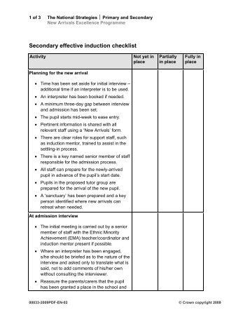 Template  Induction Checklist  Skills For All