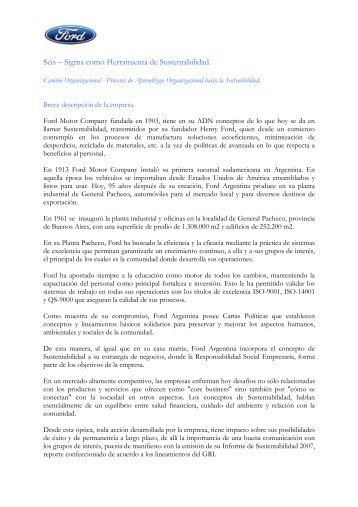 caso seis sigma 2008 - Consejo Empresario Argentino para el ...