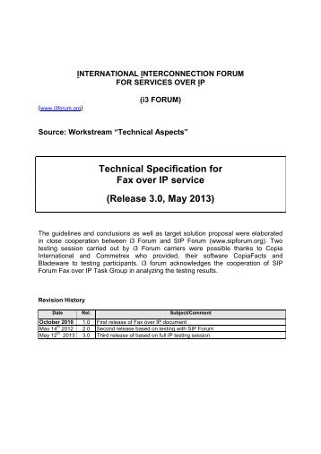 Technical Specification for Fax over IP service - i3forum