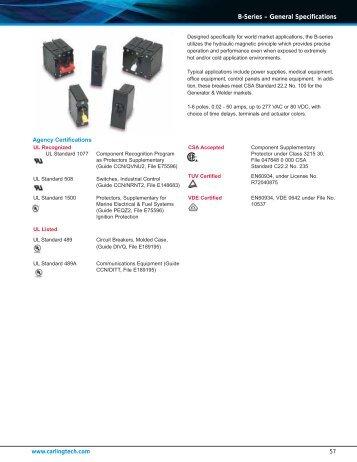 B-Series – General Specifications - carlingtech.com