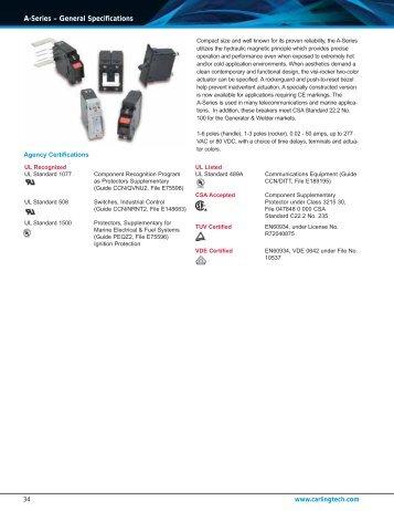 A-Series – General Specifications - carlingtech.com