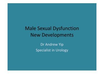 Male Sexual Dysfunction New Developments