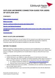 Outlook Anywhere Connection Guide for Staff - Outlook 2010