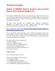 Global 1, 4-BDDMA Market Size and Growth up to 2015: Radiant Insights, Inc