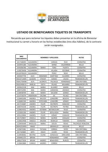 LISTADO DE BENEFICIARIOS TIQUETES DE TRANSPORTE