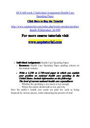 HCS 440 week 3 Individual Assignment Health Care Spending Paper