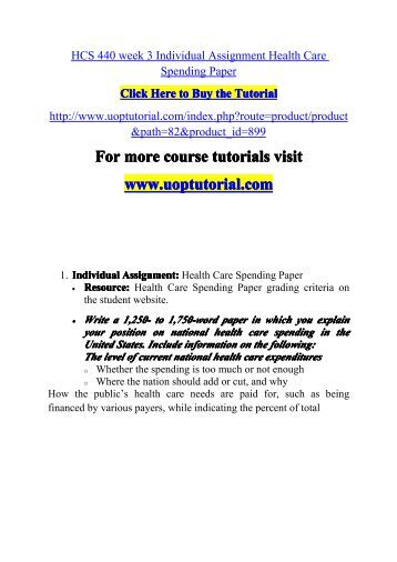 hcs 440 week 3 individual health Hcs 440 nn week 3 assignment health care spending paperdocx description reviews (2) this tutorial contains 2 papers individual assignment: health care spending paper • resource: health care spending paper grading criteria on the student website.