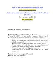 HSM 240 Week 6 Assignment Evaluating Eligibility Rules