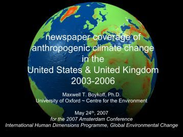Mass Media Coverage of Climate Change: analyses in the United ...