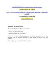 HSM 250 Week 3 Written Assignment Developing Ethnicity