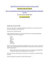 HSM 250 Week 9 Final Written Assignment Character Profile