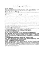 Member Frequently Asked Questions