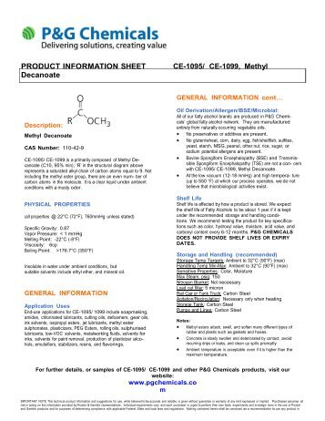 PRODUCT INFORMATION SHEET CE-1095/ CE ... - P&G Chemicals
