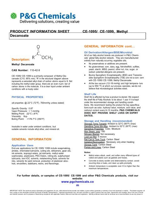 PRODUCT INFORMATION SHEET CE-1095/ CE     - P&G Chemicals