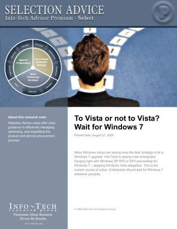 To Vista or not to Vista? Wait for Windows 7 - Info-Tech Research