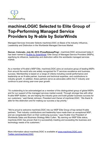 machineLOGIC Selected to Elite Group of Top-Performing Managed Service Providers by N-able by SolarWinds