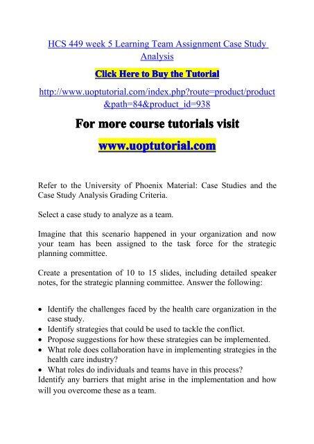 hcs 449 week 5 learning team case study analysis