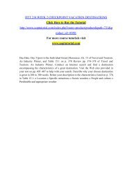 HTT 210 WEEK 2 CHECKPOINT VACATION DESTINATIONS