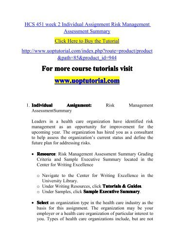 HCS 451 week 2 Individual Assignment Risk Management Assessment Summary