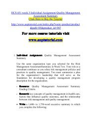 HCS 451 week 3 Individual Assignment Quality Management Assessment Summary