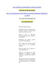 HTT 220 WEEK 4 ASSIGNMENT: ARTICLE SEARCH