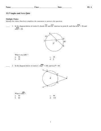 Arcs and Angles Formed by Secants and ... - Math Warehouse