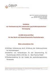 Fact-Sheet - Österreichischer Bundesverband für Psychotherapie