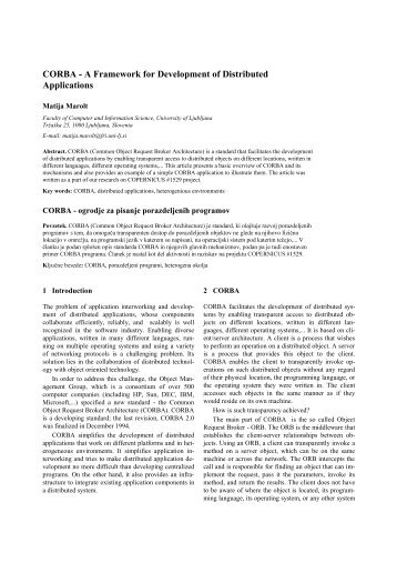 CORBA - Laboratory for Computer Graphics and Multimedia
