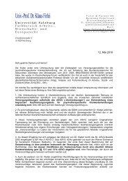 Zusammenfassung der Expertise von Univ. Prof. Dr. Klaus