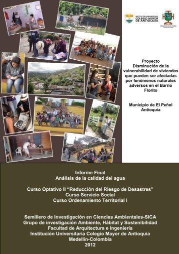 Análisis de calidad de agua - Colegio Mayor de Antioquia