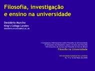Filosofia, Investigação e Ensino da Universidade - Desidério Murcho