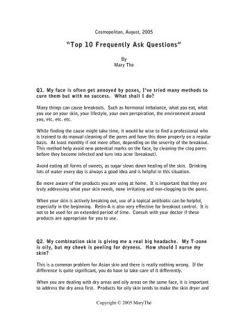 """""""Top 10 Frequently Ask Questions"""" - Mary Thé Skin Care"""