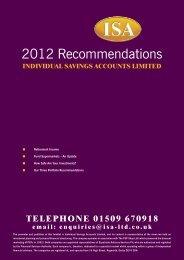 2012 Recommendations - Isa-ltd.co.uk