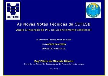 As Novas Notas Técnicas da CETESB - ASEC