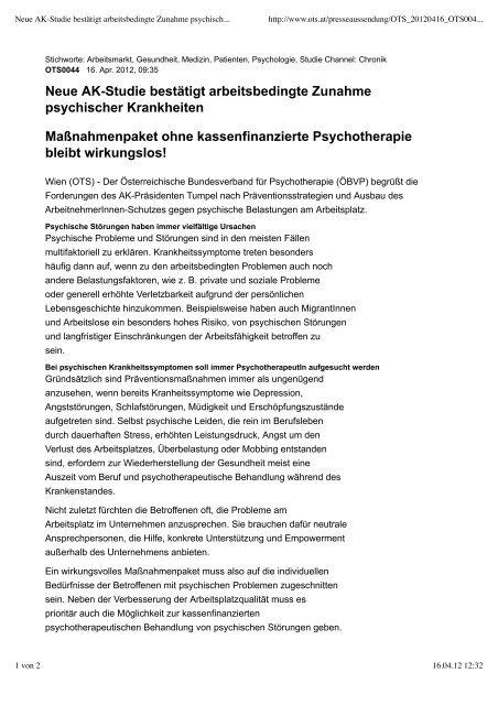 Neue AK-Studie bestätigt arbeitsbedingte  Zunahme psychischer ...