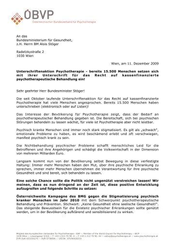 Brief an BM Stöger - Österreichischer Bundesverband für ...